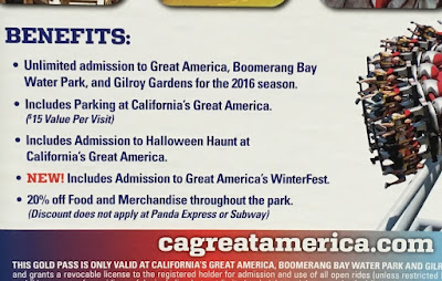 California's Great America Gold Season Pass includes free parking for every visit