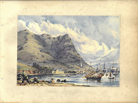 A water color painting of Victoria Harbor in Hong Kong