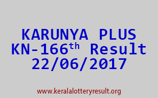 KARUNYA PLUS Lottery KN 166 Results 22-6-2017