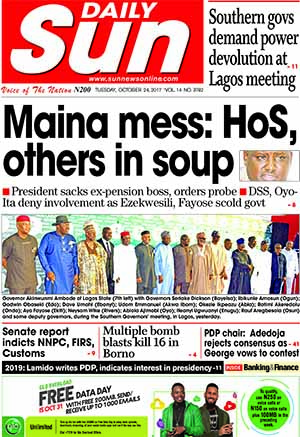 Naija Newspapers: Today's The Daily Sun Newspaper ...