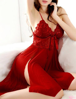 escort agency manager answering phone wearing red lace and chiffon nightgown
