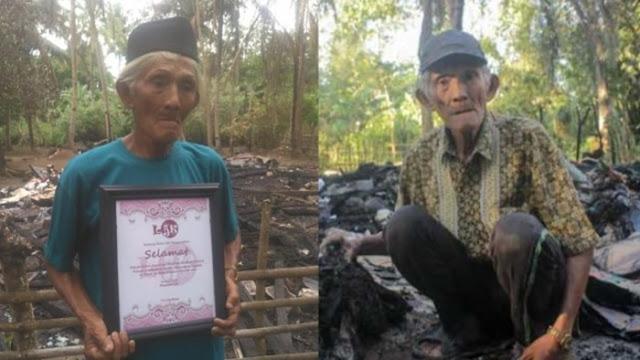 Kakek Arsyad yang Rumah dan Uang Tabungannya Hangus Terbakar Diberi Hadiah Umrah dari Warganet