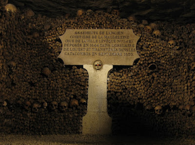 Photograph of Paris catacombs