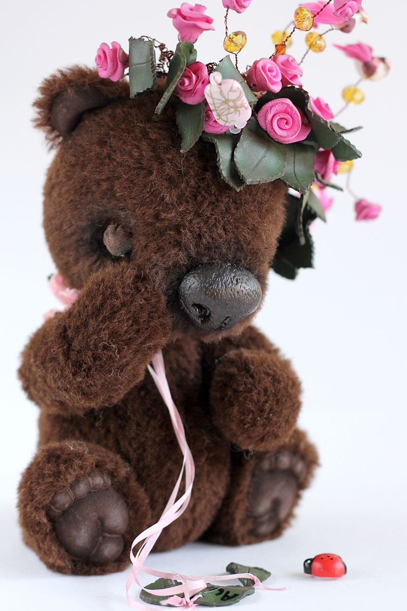 Teddy bear with pink roses - photo#45