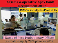 Assam Co-operative Apex Bank Recruitment 2017 – 55 Probationary Officer & Assistant cum Assistant Cashier