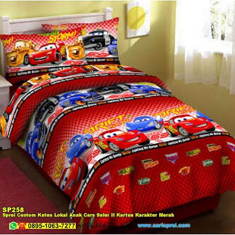Sprei Custom Katun Lokal Anak Cars Salur II Kartun Karakter Merah