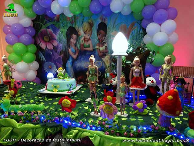 Decoração Tinker Bell, mesa temática para festa de aniversário infantil