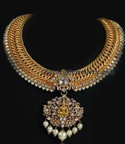 Antique Choker with Diamond Lakshmi Pendant