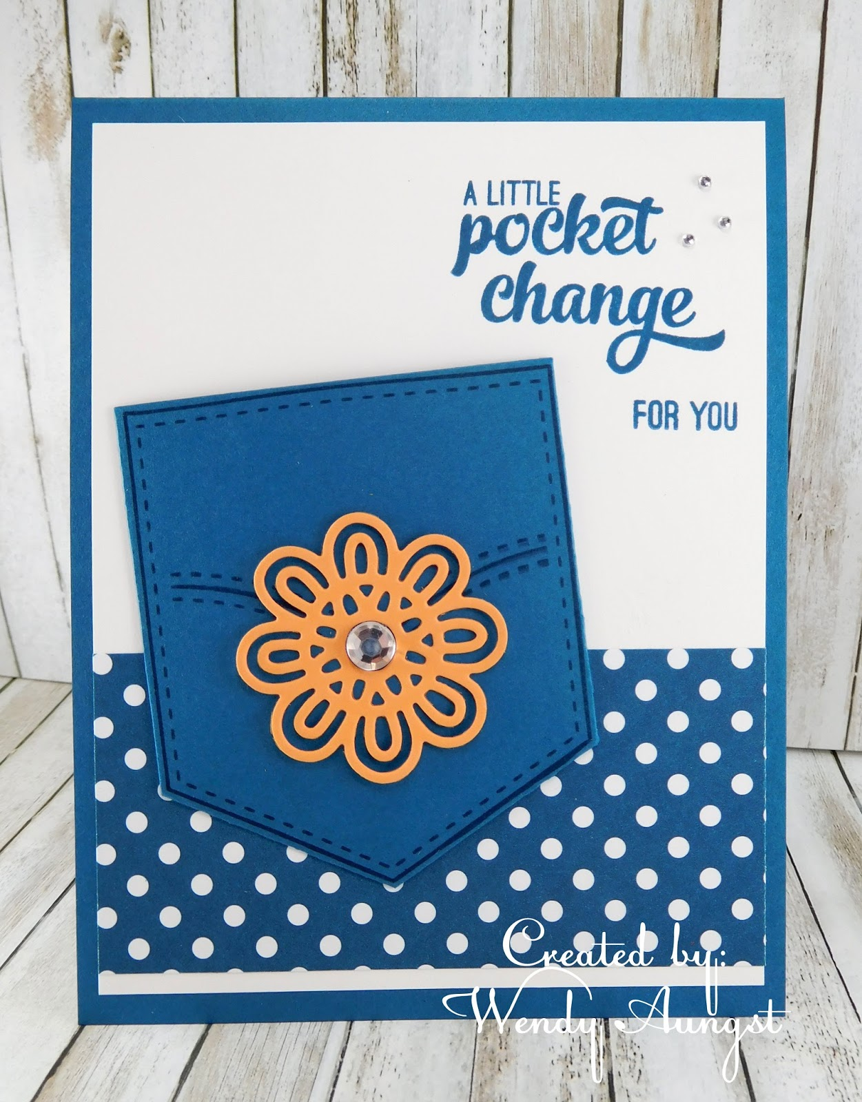 Weebeestampin4fun pocketful of sunshine when i looked at the pocket die all i could vision is this being stamped on dapper denim to look like denim so that is that color my card took on m4hsunfo