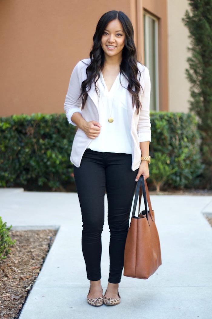 Blazer + White Blouse + Pendant Necklace + Black Jeans