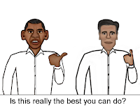 Cartoon of Barack Obama jerking his thumb at Mitt Romney