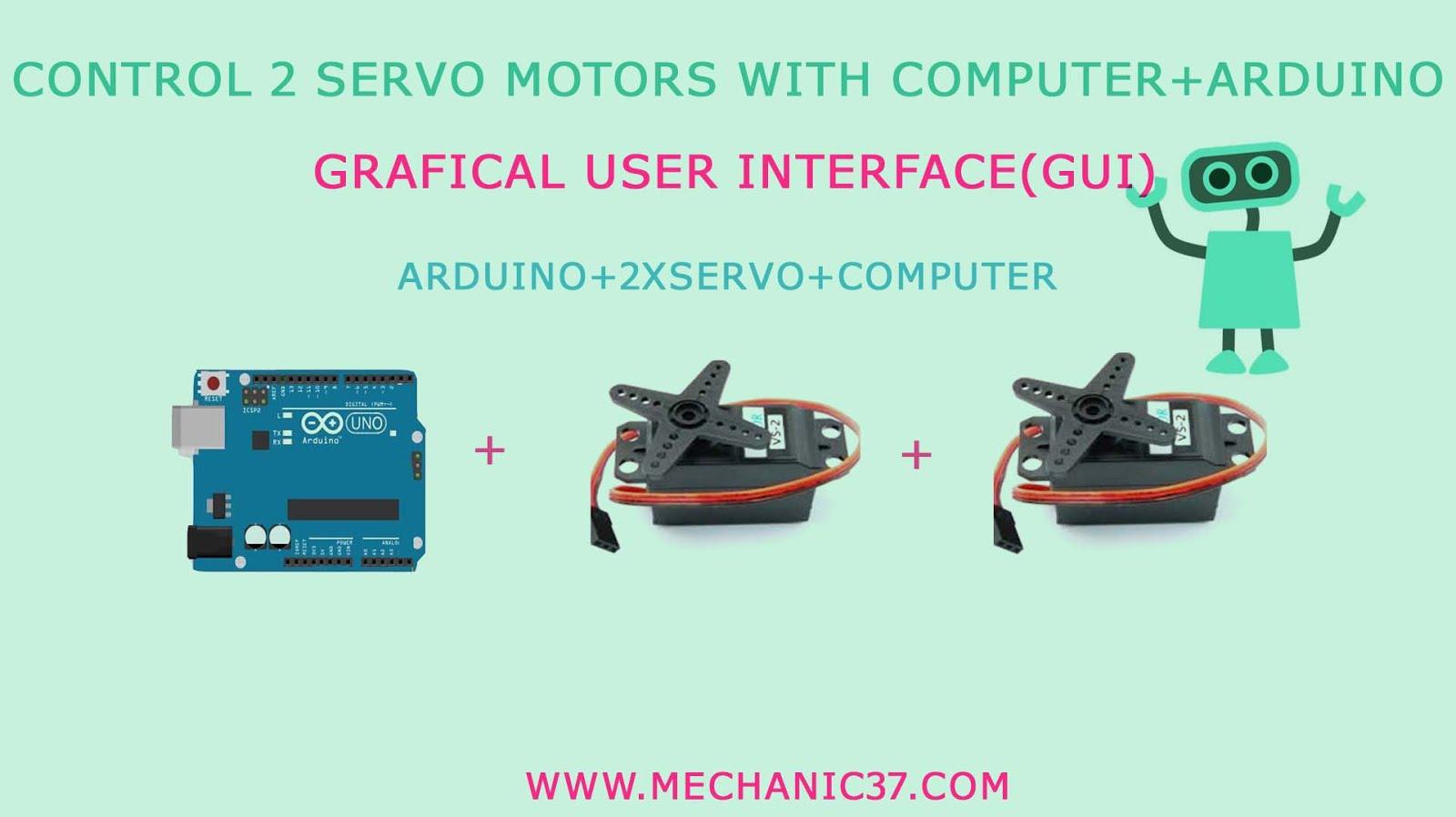 Processing Gui+two Servo motors+Arduino control