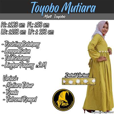 Gamis Polos Variasi Mutiara Tabur Bahan  Toyobo