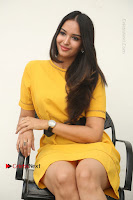 Actress Poojitha Stills in Yellow Short Dress at Darshakudu Movie Teaser Launch .COM 0232.JPG