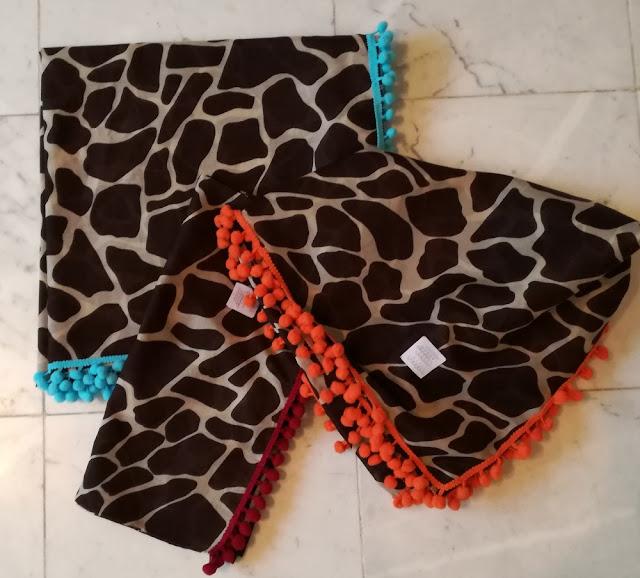 Giraffe Square Scarf and Rectangular Scarf with pompom ribbon Craftrebella