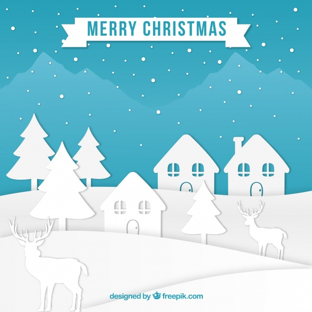 Christmas village in paper style Free Vector