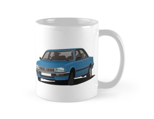 Blue Peugeot 505 - car coffee mug