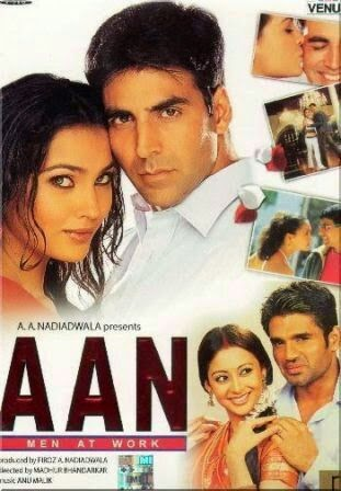 Poster Of Bollywood Movie Aan Men at Work (2004) 150MB Compressed Small Size Mobile Movie Free Download worldfree4u.com