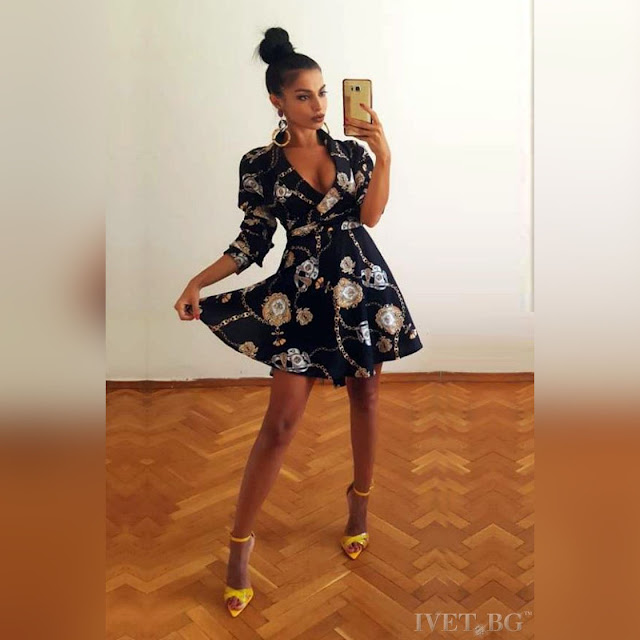 Μοντέρνο κοντό χρωματιστό φόρεμα HESTIA BLACK