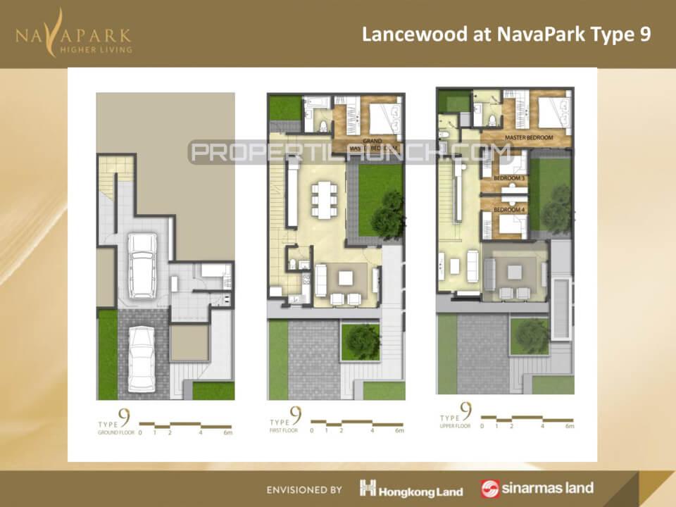Denah Tipe 9 Cluster Lancewood Nava Park