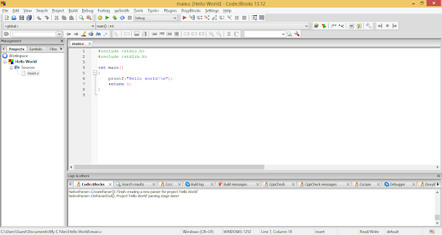 Creating new C/C++ project in Code::Blocks