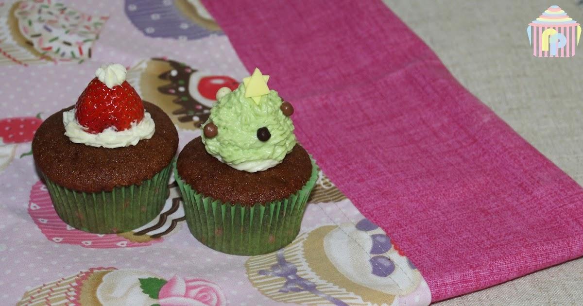 Navidad: Cupcakes de chocolate y fresas (sin gluten ni lactosa)