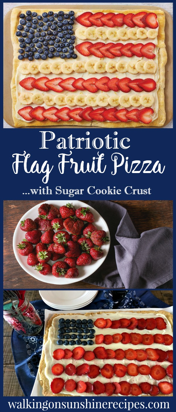 Patriotic Flag Fruit Pizza from Walking on Sunshine