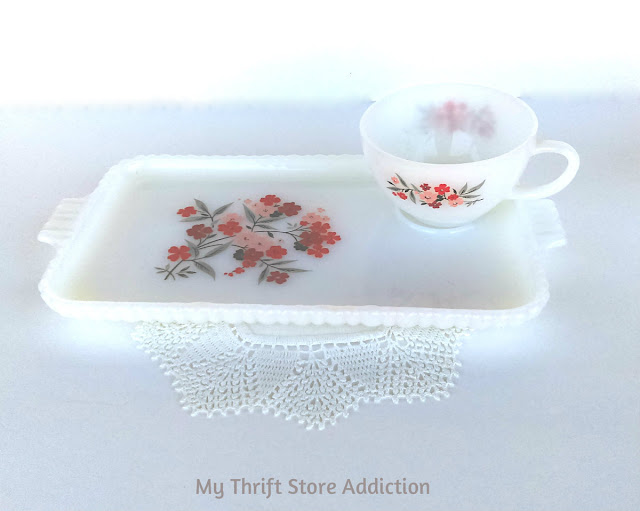 Vintage Fire King Primrose snack trays and matching teacups