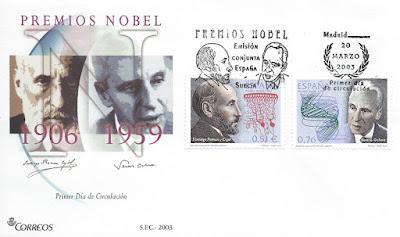 Sobre primer día de los sellos de Severo Ochoa y Ramón y Cajal, 2003