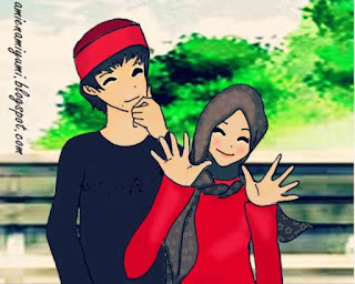 kartun islami pasangan remaja romantis berjilbab