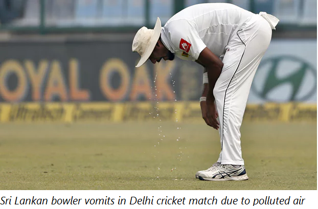 Sri Lankan bowler vomits in Delhi cricket match due to polluted air