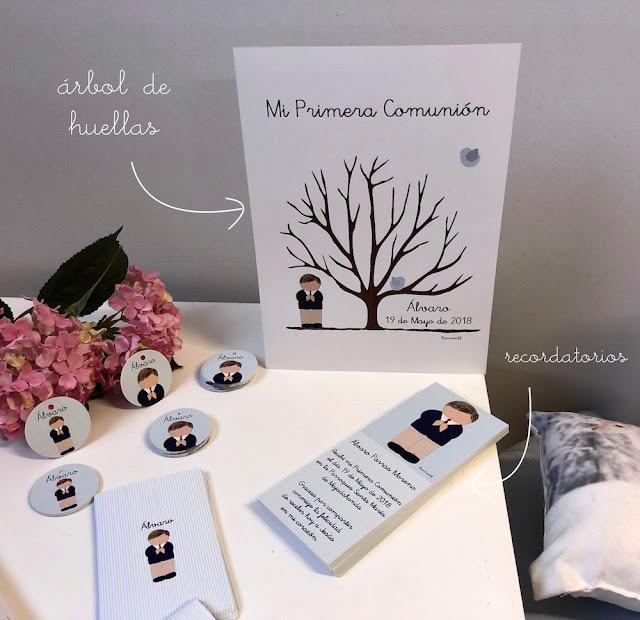 PAPELERÍA PERSONALIZADA PARA PRIMERA COMUNIÓN  recordatorios -marca-páginas- etiquetas -árbol de huellas