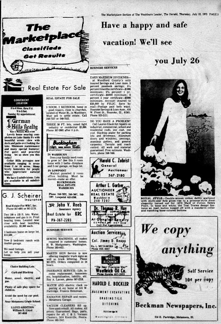 Herald Classifieds from July 12, 1973, Metamora Herald