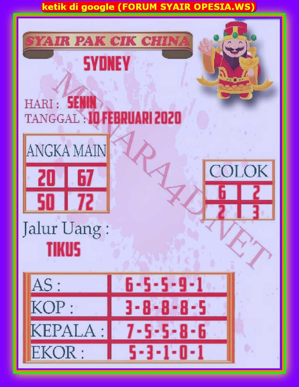 Kode syair Sydney Senin 10 Februari 2020 98
