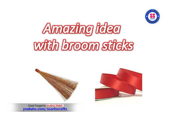 Here is amazing idea with broom sticks crafts,satin ribbon feathers crafts,broom sticks wall decor ideas,satin ribbon wall art,satin ribbon wall hanging pic,broom sticks wall hanging crafts,best out of waste crafts,creative ideas crafts,how to make broom stick and satin ribbon feathers craft
