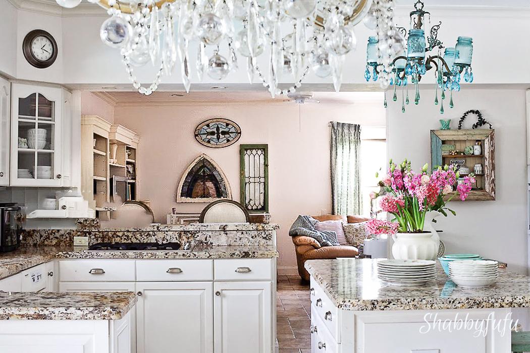 white kitchen with granite cottage farmhouse