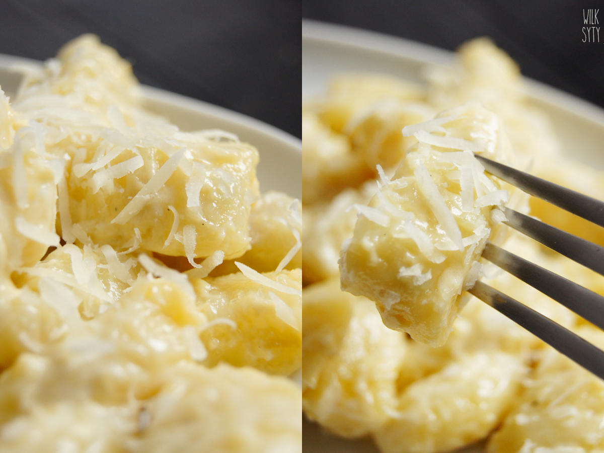 przepis na domowe kopytka | gnochi ziemniaczane bez jajka | gnocchi di patate z sosem