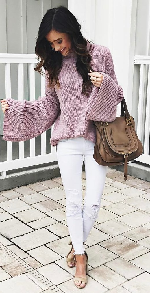 cool outfit idea / knit sweater + bag + white rips + heels