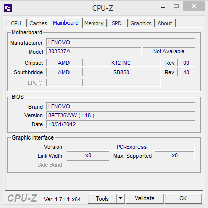 Detail Mainboard dengan CPU-Z