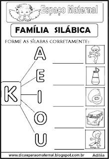 Família silábica alfabetização letra K