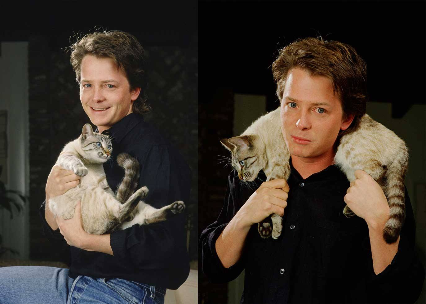 Michael J. Fox with a cat.