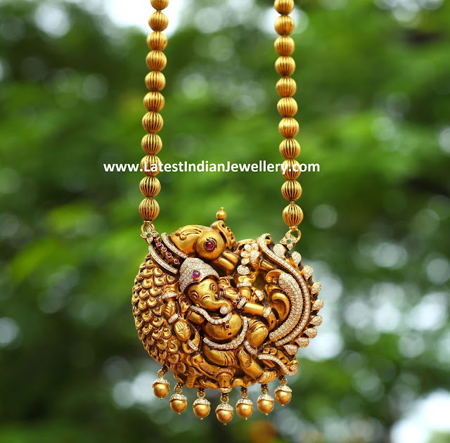Diamond Peacock Ganesh Pendant