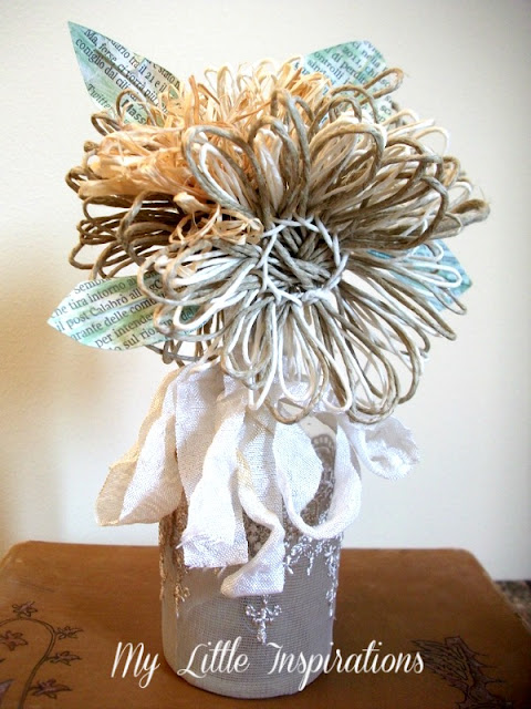 DIY Twine and raffia flowers with recycled paper leaves - Fiori di spago e rafia con foglie carta riciclata 14 - My Little Inspirations