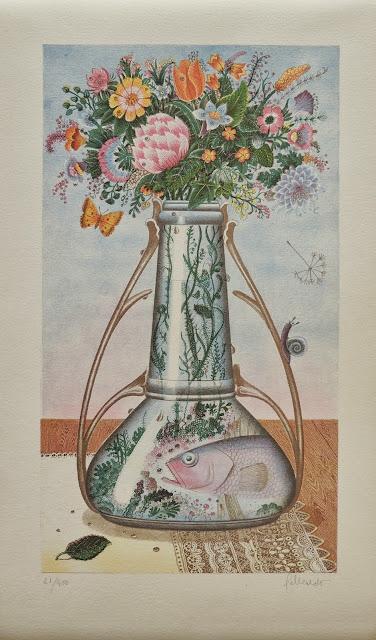Gervasio Gallardo litografía surrealista flores peces