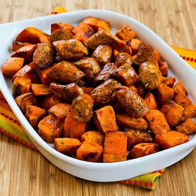 Spicy Roasted Sweet Potatoes and Chicken-Garlic Sausage