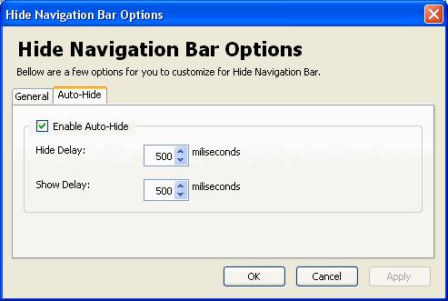 Opzioni addon Firefox Hide Navigation Bar