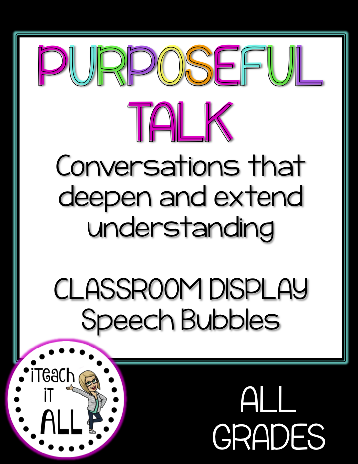 iTEach it All: Purposeful Talk Sentence Starters - Back to