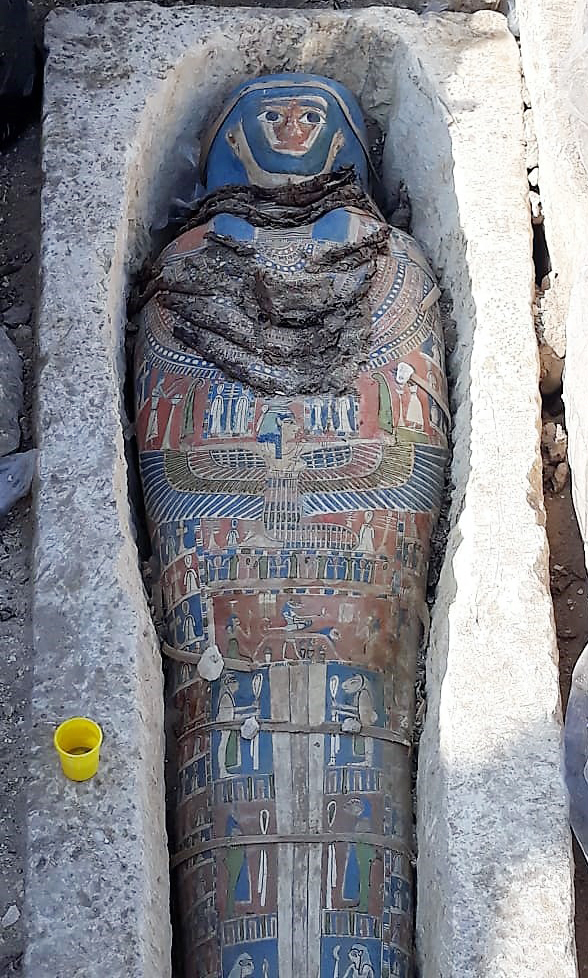 Eight limestone sarcophagi with mummies found near Giza's Great Pyramids