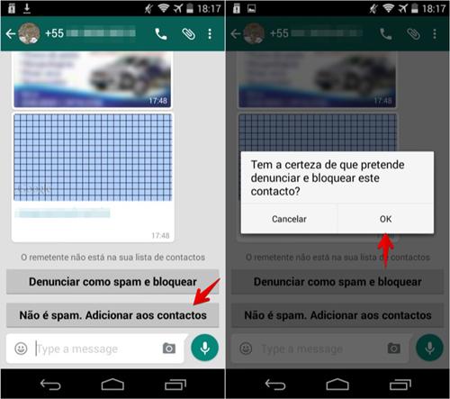 Denunciando spammer no WhatsApp para Android
