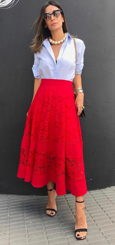 amazing look: shirt + skirt + bag + heels